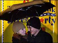 Couple under brolly