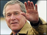 Bush arriving at Falfurrias, Texas, on New Year's Day