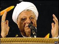 Former Iranian President Hashemi Rafsanjani addressing worshippers in Bam