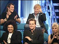 Will Young (top left), Kurt Nilsen (top right) with other World Idol contestants