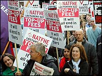 Lecturers' anti-fees demonstration