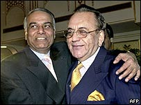 Yashwant Sinha and his Pakistani counterpart Khurshid Mahmud Kasuri in Islamabad