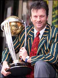 Steve Waugh with the World Cup