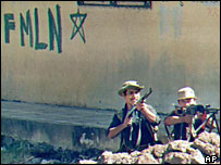FMLN guerrillas fighting in San Salvador, 1989