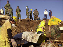 Rescuers recover body in aftermath of quake, Santa Tecla, El Salvador, 2001