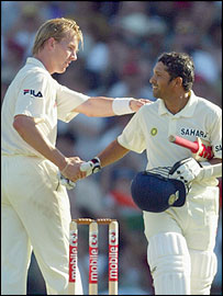 Brett Lee and Sachin Tendulkar