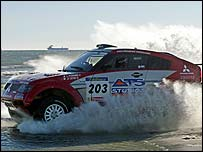 Stephane Peterhansel in action on stage three of the Dakar Rally