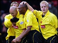 Watford players celebrate their second goal of the afternoon