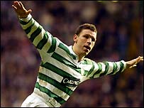 Alan Thompson celebrates scoring Celtic's third goal