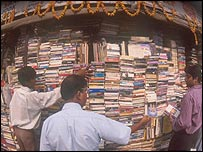 People browsing at a second hand bookstall in Delhi