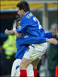 Portsmouth's Sebastien Schemmel celebrates his goal against Blackpool in the FA Cup Third Round