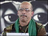 FARC commander Ricardo Palmera (Simon Trinidad) at a press conference in Los Pozos in 2002