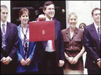 Photo of Gordon Brown with the makers of his new Budget box on the steps of Number 11 Downing Street