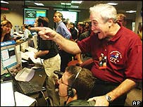 Nasa boss Sean O'Keefe celebrates the landing on Mars of Spirit (AP)