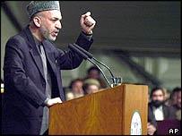 Hamid Karzai at the loya jirga in Kabul