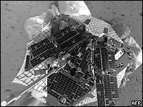 An overhead view of the rover on the surface of Mars after its successful landing