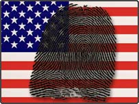 US flag and fingerprint