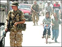 UK troops patrolling in Basra