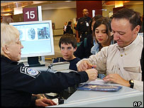 Visitors being checked with the new system at Hartsfield-Jackson Atlanta International Airport