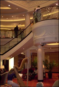 Feature staircase on deck three