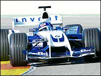 Juan Pablo Montoya tests the new Williams FW26 on Monday