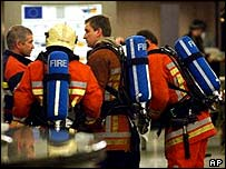 Firefighters at European Parliament