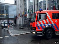 Fire engine outside Brussels European Parliament building