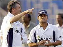 John Wright and Sachin Tendulkar