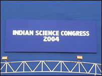 Indian Science Congress tent sign, BBC