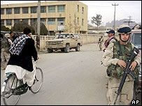 US troops in a Kandahar street