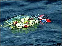 Flowers left at sea