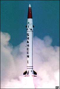 Nuclear-capable Pakistani Shaheen 1 missile, test-fired on 8 October 2003