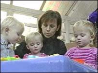 Helen with babies Natasha, Charlotte and William