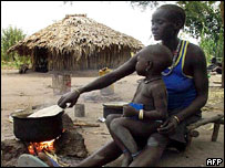 Mother cooks meal in village 900 km south of Khartoum