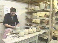 Potter at work in St Ives