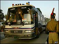 The Delhi-Lahore bus at the Wagah border post