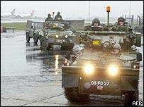 Troops at Heathrow last February