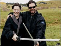 Tom Cruise with New Zealand Prime Minister Helen Clark on the set of The Last Samurai