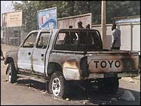Car burnt during clashes