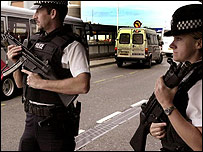 Armed Police outside Heathrow Airport