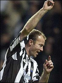 Alan Shearer celebrates scoring for Newcastle