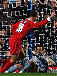 Bruno Cheyrou celebrates his first league goal for Liverpool
