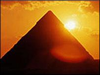 A pyramid at sunset