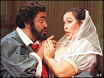 Luciano Pavarotti and Ines Salazar, AP