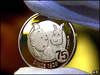 10-euro coin in honour of Tintin
