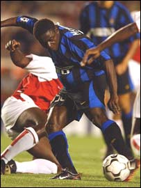 Obafemi Martins in action for Inter in the Uefa Champions League