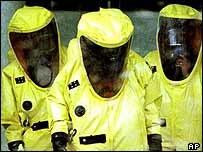 Biohazard clean-up workers, AP