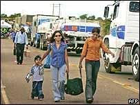 Road blocks in Roraima on Wednesday