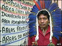 Matuxi Tuxau, cacique of the Macuxi people, after occupying the Funai office in Boa Vista