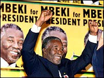 Thabo Mbeki celebrating in 1999